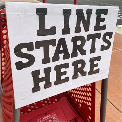 Line Starts Here No-Cheating Sign