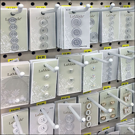 Carded-Button Pegboard Hook Array