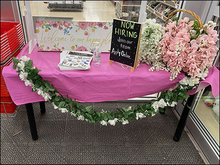 Draped Welcome Table Hiring Pitch