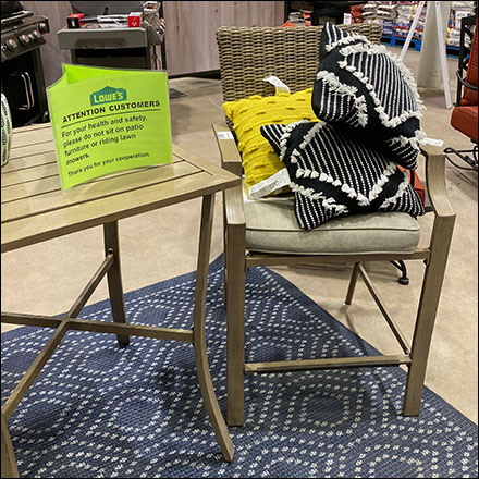 Lowes In-Store No-Sitting-Allowed Sign