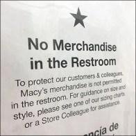 Macy's No-Restroom-Merchandise Multilingual Sign