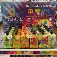 Love-Peace-And-Shimmer Hempz Moisturizer Display