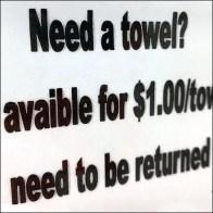 Towel Rental Fee $1 With ReturnTowel Rental Fee $1 With Return