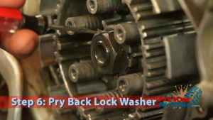 Step 6: Pry Back Lock Washer