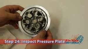 Honda CR250 Clutch Inspection Step 24: Inspect Pressure Plate