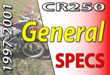 1997 -2001 Honda CR250 - Service Specifications - General Specifications