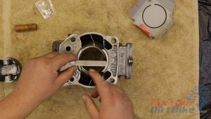 1997 - 2001 Honda CR250 - Top End Service - Part 11 - Piston Installation - Measure Ring Gap With Feeler Guage