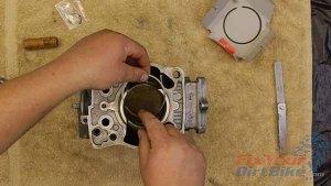 1997 - 2001 Honda CR250 - Top End Service - Part 11 - Piston Installation - Ring In Bottom Of Piston