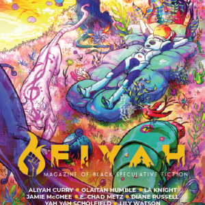 cover art for FIYAH #19: Sound and Color. An astronaut reclines on padded flora on an alien planet, beside a river and a pink, three-eyed tiger circles them.