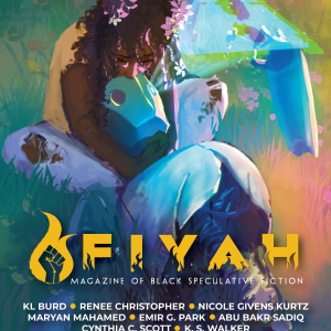 Cover for FIYAH #20: A Black girl crouches in the grass, hugging a dying android affectionately. A Fatal Error icon is hologrammed overhead