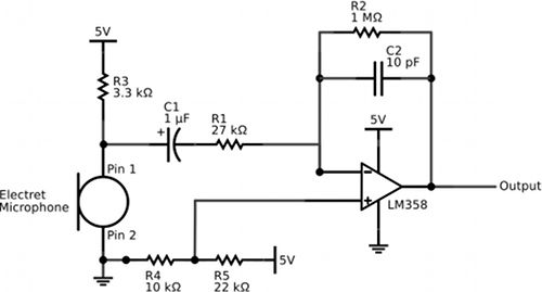 Simple Electret Microphone and Band-Pass Amplifier Circuit