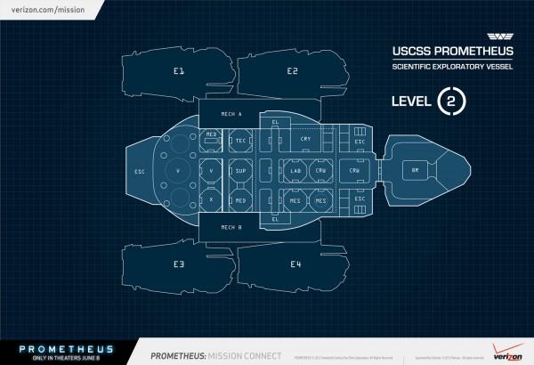 Diagram of the USCSS PROMETHEUS Space Craft