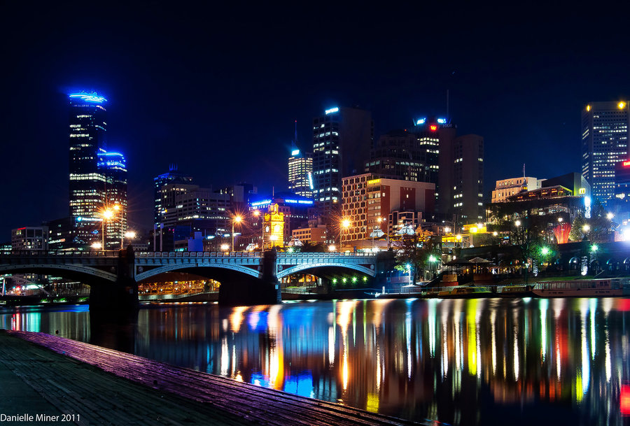 Melbourne Victoria Australia Cityscape at night taken from across the yarra river looking at the city.