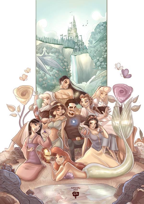 tony-stark-flirting-with-some-disney-princesses