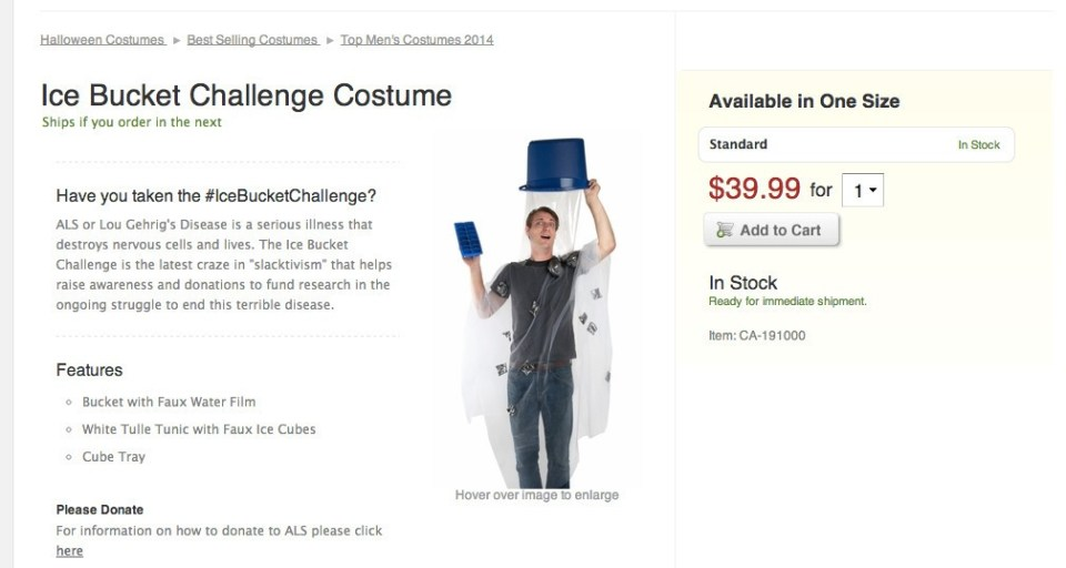 IceBucketChallenge Is Now a Halloween Costume