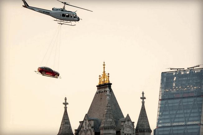 Flying Jaguar XE makes a very 007 arrival in London