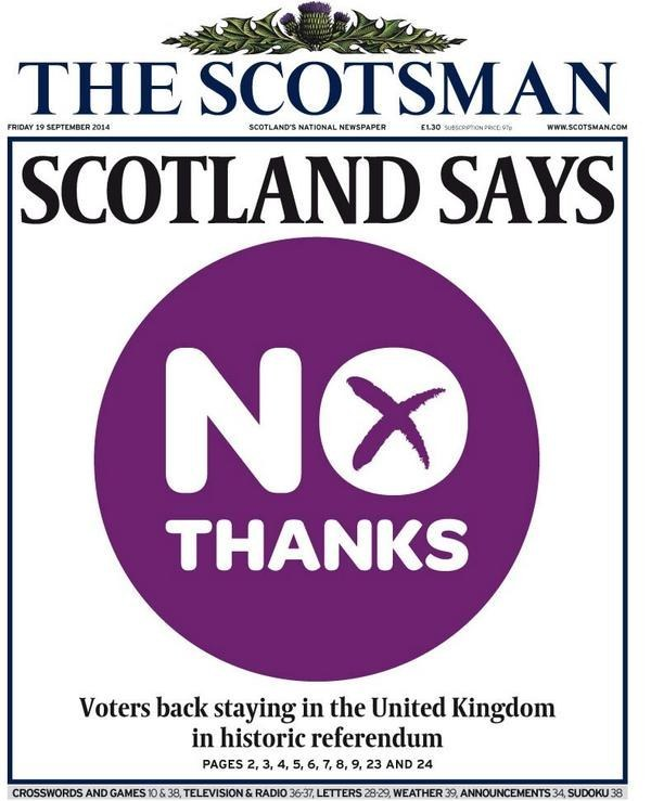 How Scotland Said No To Freedom - UK Newspaper Front Pages