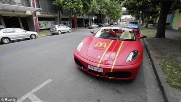 McDelivery Using Lamborghini and Ferrari In Australia  (2)
