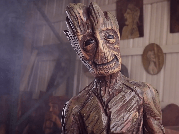 Groot Sculpture Carved Out Of Wood