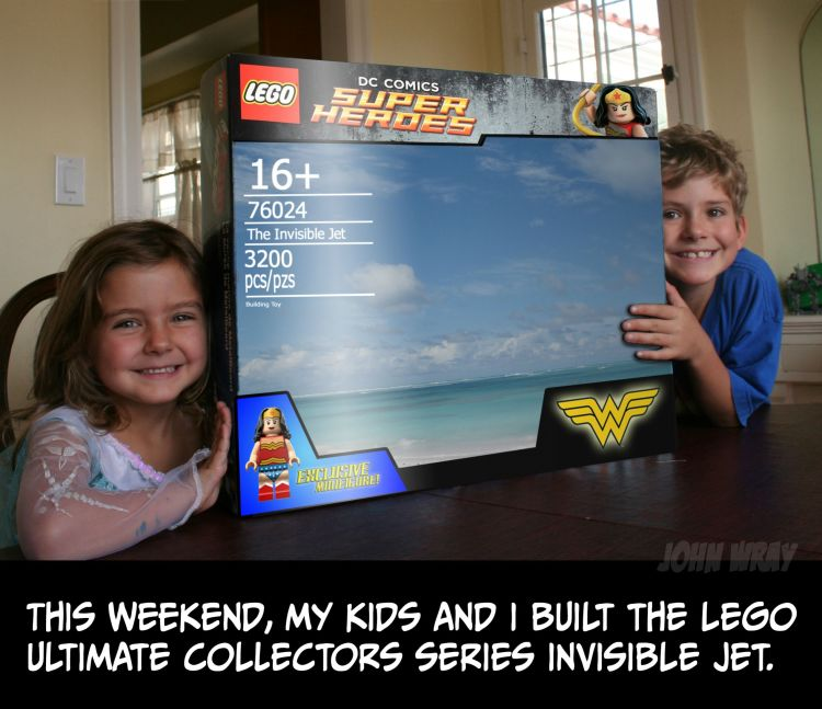 Dad and Kids Build Wonder Woman's Invisible Jet Out of LEGOs