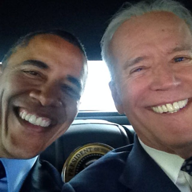 Joe Biden's first selfie, with special guest President Barack Obama
