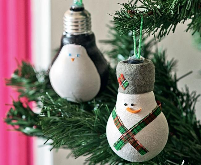 DIY Christmas Ornaments Made From Light Bulbs