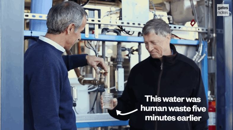Bill gates drinking from the Omniprocessor