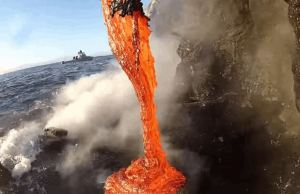 Watch Lava Spilling Into Water In Amazing Detail