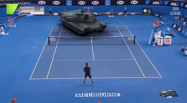 Novak Djokovic Plays Tennis Against Tank