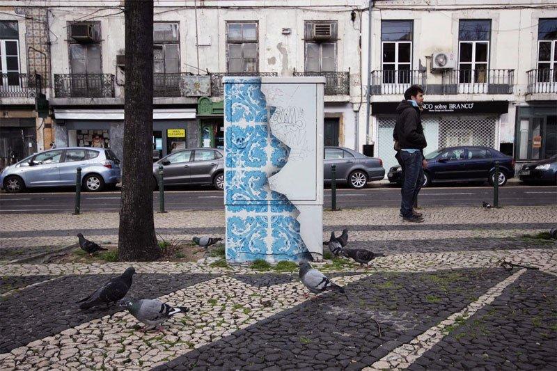 Utility Box Turned Into Ceramic Tile Illusion