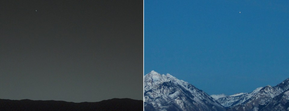 Earth from Mars and Mars fromEarth