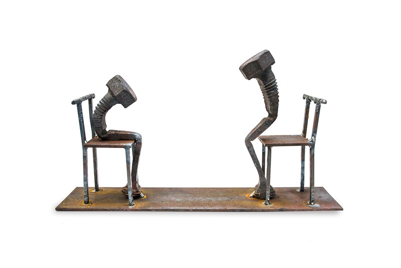 Old Steel Bolts Transforms Into Evocative Sculptures