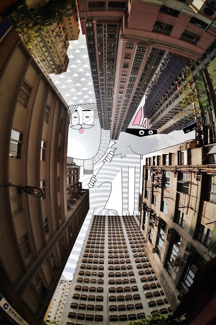 Illustrations On The Sky Between Buildings