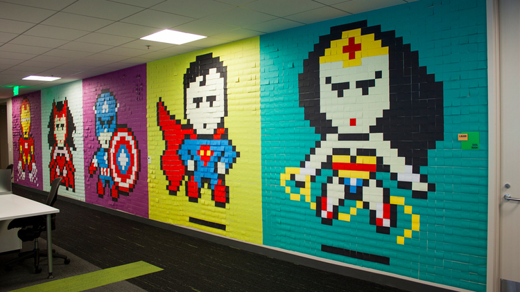 Superhero Office Mural Made by Post-it Notes