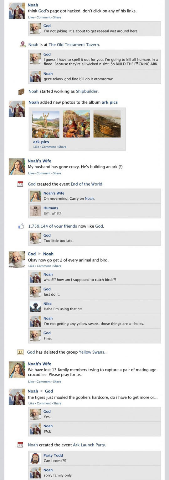If Noah's Ark Were a Facebook Newsfeed