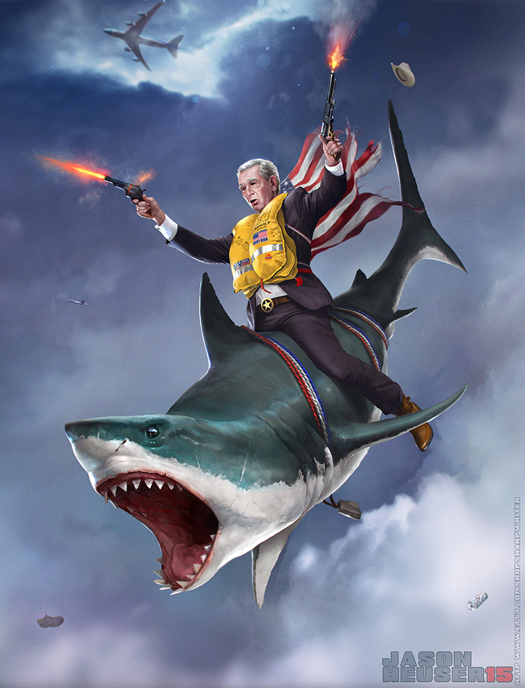 George W. Bush Skydiving Out of Air Force One While Riding on a Shark and Shooting His Guns