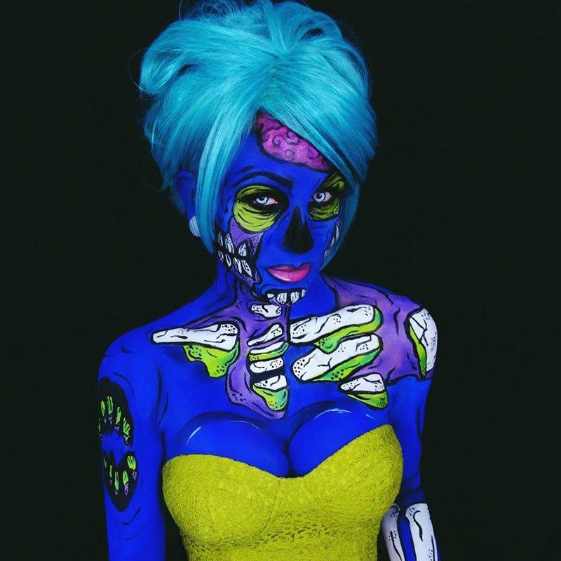 Bodypainter Transforms Herself Into Nightmares