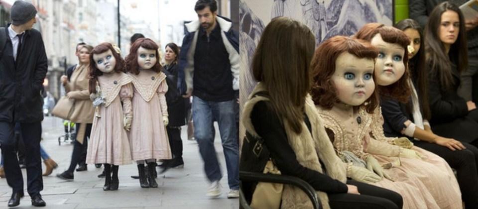 Creepy Twins Stalking London Commuters