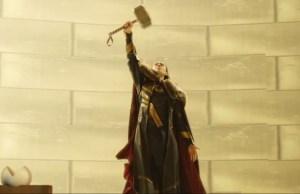 Loki Flying Away WithThor's Hammer