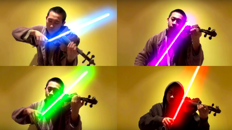 STAR WARS Music With Stunning Colors of Lightsabers and Violins