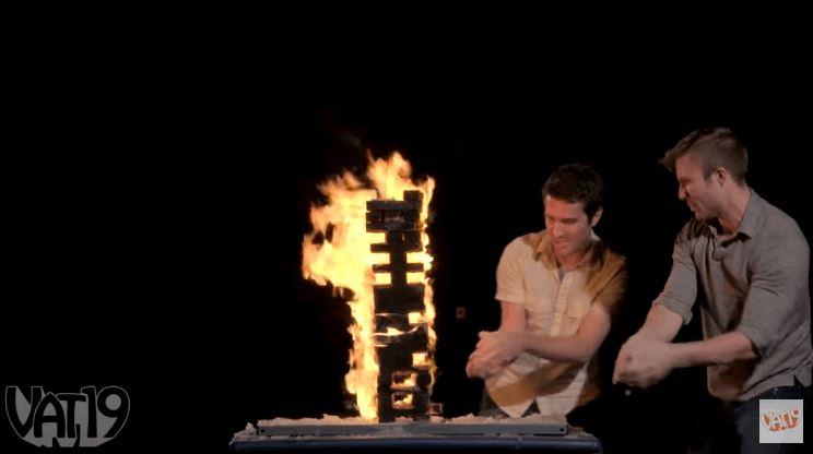 Flaming Jenga