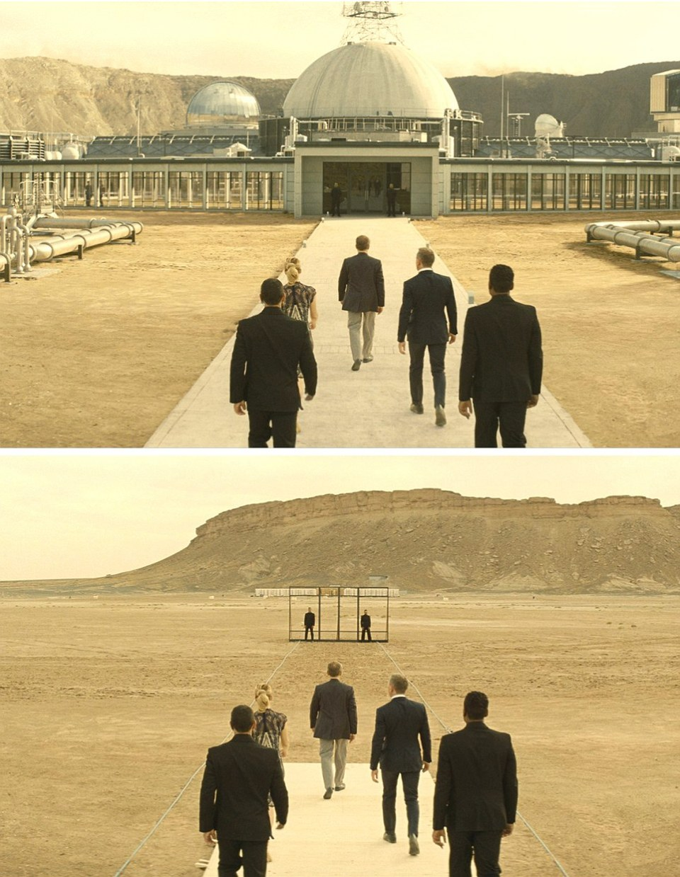 Spectre (2015) - TOP: James Bond (2nd Right) approaches Blofeld's (played by Christoph Waltz) desert base - filmed in Erfoud , Morocco but the Observatory base entrance is seen BELOW filmed with barely a simple door frame (with guards)
