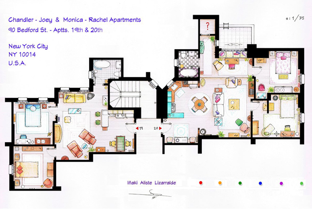 Popular TV Show Apartments and Houses Floor Plans