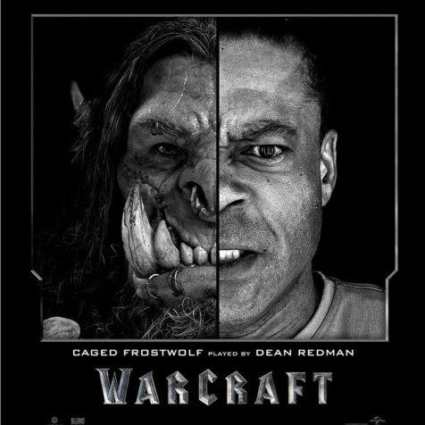 Warcraft posters with cgi characters and actors