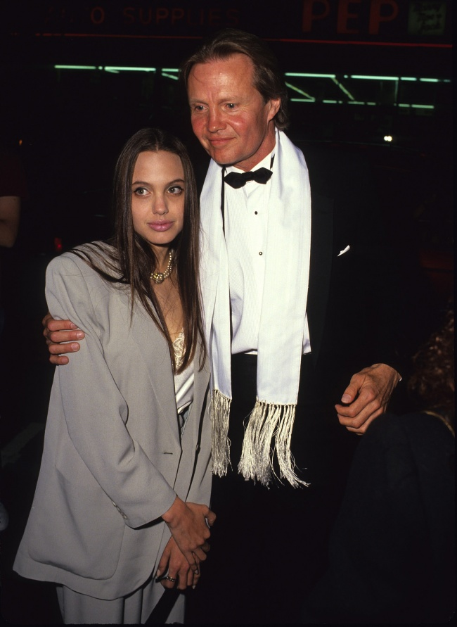 Angelina Jolie with her father Jon Voight in 1990.