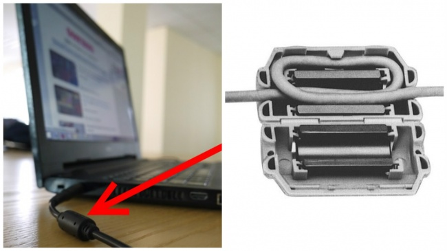 The cylinder on your laptop's power cable