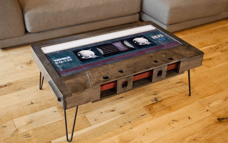 Coffee Tables Shaped Like Retro Cassette Tapes