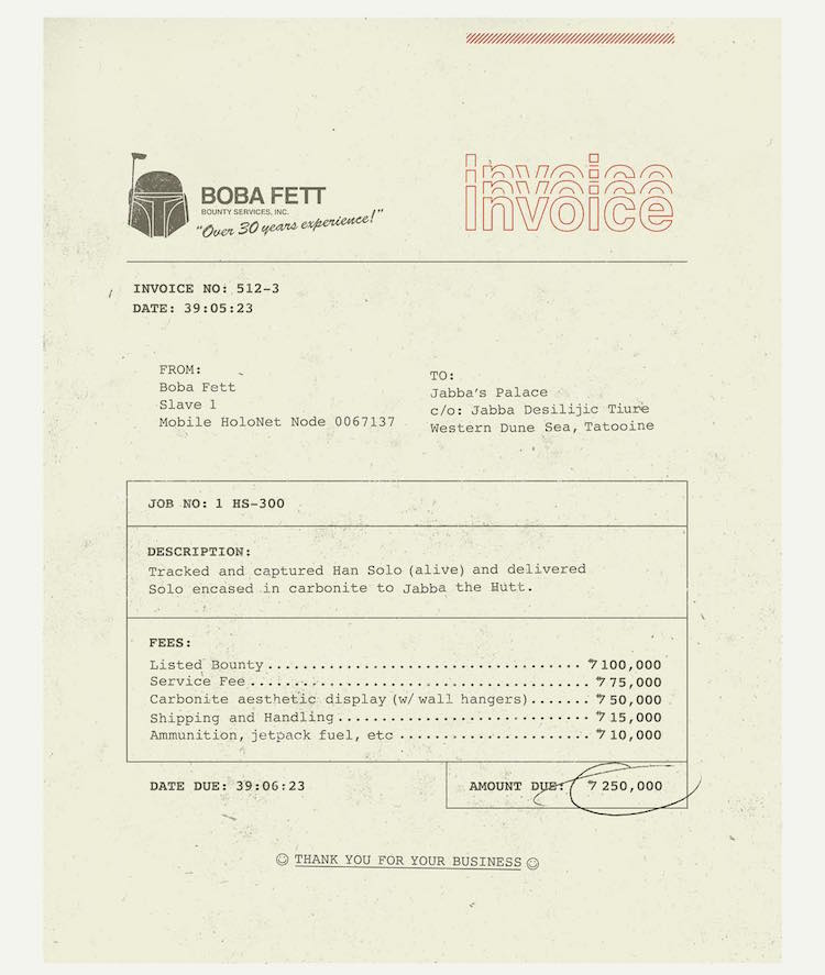 Boba Fett's Invoice To Jabba The Hut For Capturing Han Solo