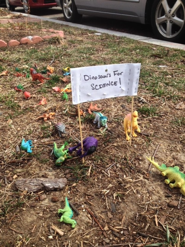 Anti-Trump Protest With Toy Dinosaurs