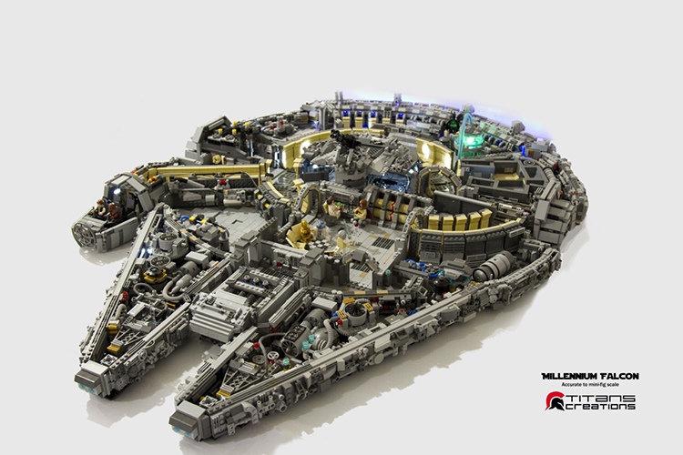 Star Wars Millennium Falcon Scaled Version Built Out of LEGO Bricks and Minifigs